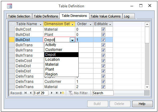 Table Definition